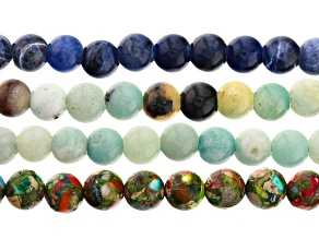 Multi Stone Large Hole Appx 8mm and 10mm Round Bead Strand Set of 4 Appx 8