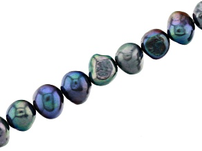 Peacock Color Cultured Freshwater Appx 8-9mm Button Shape Pearl Strand