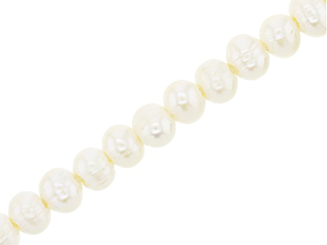 White Cultured Freshwater Large Hole Appx 8-10mm Potato Shape Pearl Bead Strand Appx 8