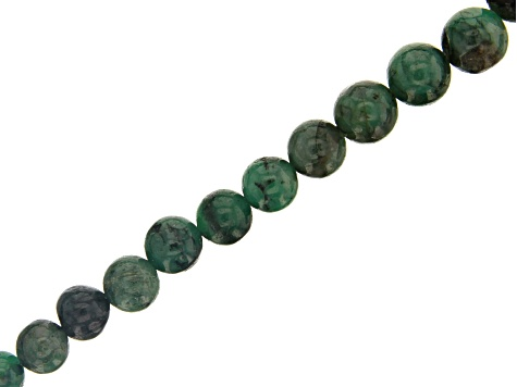 Emerald appx 5-7mm Graduated Round Bead Strand Appx 15-16