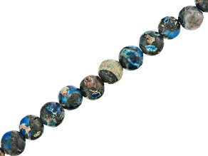 Blue Mardi Gras Stone Appx 4mm Round Bead Strand Appx 15-16