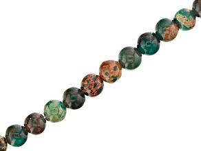 Teal and Brown Mardi Gras Stone Appx 4mm Round Bead Strand Appx 15-16