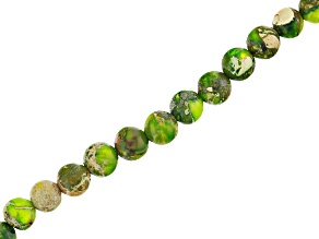 Lime Green Mardi Gras Stone Appx 4mm Round Bead Strand Appx 15-16