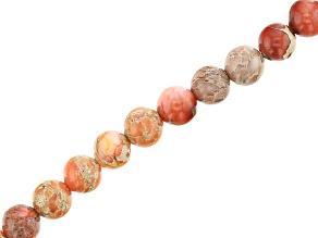Orange Mardi Gras Stone Appx 6mm Round Bead Strand Appx 15-16