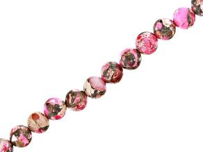 Pink Mardi Gras Stone Appx 6mm Round Bead Strand Appx 15-16