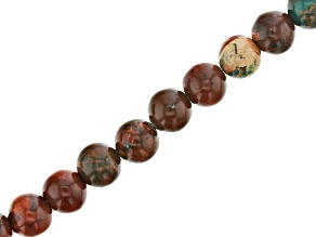 Teal and Brown Mardi Gras Stone Appx 8mm Round Bead Strand Appx 15-16
