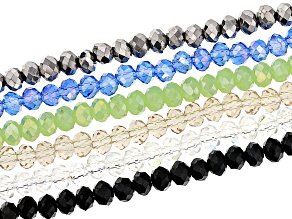 Chinese Crystal Appx 4mm Faceted Rondelle Bead Strand Set of 6 in Assorted Colors Appx 15-16