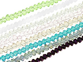 Chinese Crystal Appx 2x3mm Faceted Rondelle Bead Strand Set of 8 in Assorted Colors Appx 15-16