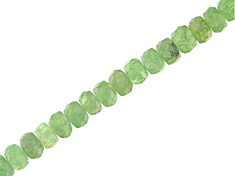 "Green Garnet Appx 3-4mm Faceted Rondelle Bead Strand Appx 18"" Appx 60CTW Min Strand Weight"
