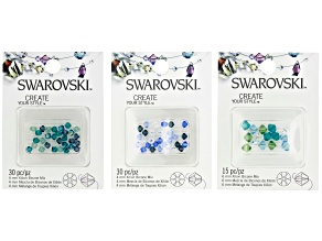 Swarovski® Crystal Bicone Bundle in Blue and Green  Assorted Colors Appx 75 Pieces