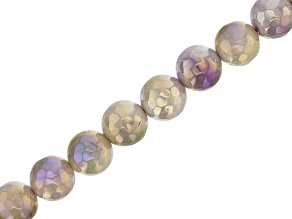 "Purple and Green Quartzite Appx 8mm Faceted Round Bead Strand Appx 15-16"" in length"