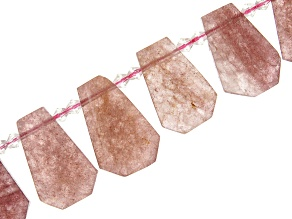 Strawberry Quartz Faceted appx 21x29mm Ladder Shape Bead Strand appx 15-16