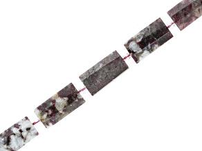 Pink Tourmaline in Quartz Matrix Appx 14x30mm Faceted Puff Rectangle Bead Strand Appx 15-16