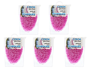 Hot Pink Czech Glass Size 11/0 Seed Beads Set of 5 Appx 10 Grams Each, Total 50 Grams