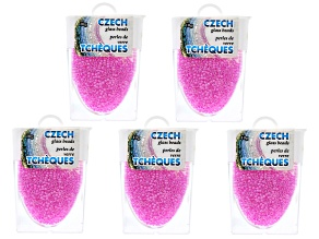 Fuchsia Luster Czech Glass Size 11/0 Seed Beads Set of 5 Appx 10 Grams Each, Total 50 Grams