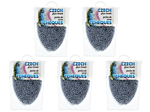 Gray Ceylon Czech Glass Size 11/0 Seed Beads Set of 5 Appx 10 Grams Each, Total 50 Grams