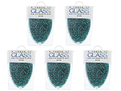 Teal Czech Glass Size 11/0 Seed Beads Set of 5 Appx 10 Grams Each, Total 50 Grams