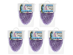 Lilac Czech Glass Size 11/0 Seed Beads Set of 5 Appx 10 Grams Each, Total 50 Grams
