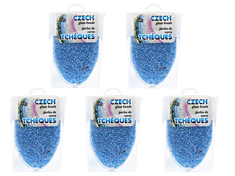 Blue Luster Czech Glass Size 11/0 Seed Beads Set of 5 Appx 10 Grams Each, Total 50 Grams