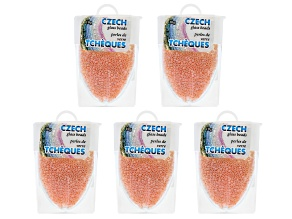 Peach Ceylon Czech Glass Size 11/0 Seed Beads Set of 5 Appx 10 Grams Each, Total 50 Grams