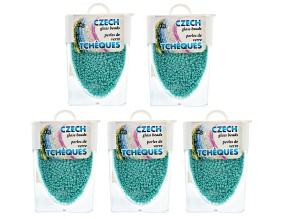 Turquoise Color Czech Glass Size 11/0 Seed Beads Set of 5 Appx 10 Grams Each, Total 50 Grams