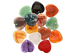 Heart Shaped Multi Gemstone appx 30mm Focal Bead Set of 14