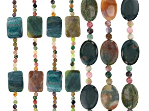 """Multi-Color Agate Flat Oval & Faceted Rectangle Bead Strand Set of 7 appx 7-8"""""""
