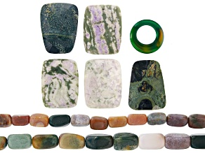 Jasper & Agate Mix Tumbled Rectangle Bead Strand Set of 2 & Multi-Stone Focal Beads in 2 Styles