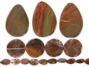 Agate Tear Drop & Coin Bead Strand Set of 2 & Wood Jasper Focal Set of 3