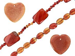 Carnelian Oval, Faceted Rectangle & Round Bead Strand Set of 2 & Orange Aventurine Focal Beads