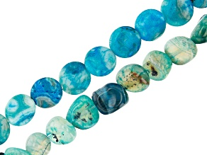 Blue Agate Nugget appx 8x10mm Bead Strand & Coin appx 12mm Bead Strand Set of 2