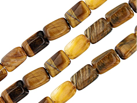 Tiger's Eye Flat Rectangle appx 12x8mm Shape Bead Strand Set of 3 Each appx 5""