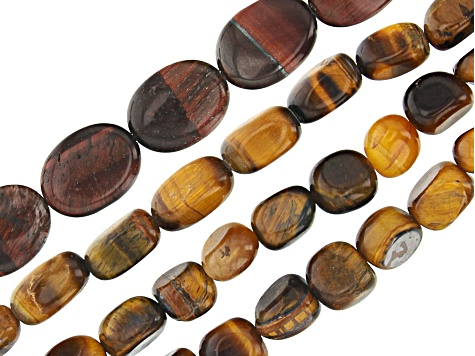 Red Tigers Eye Oval appx 15x12mm & Yellow Tigers Eye Tumbled Nugget appx 10x7mm Bead Strand Set of 4