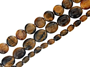 Tiger's Eye Oval, Coin & Rice Shape Bead Strand Set of 3 appx 15-16