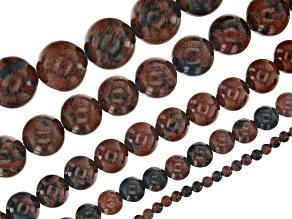 Mahogany Obsidian Round appx 4, 6, 8, 10 & 12mm Bead Strand Set of 5 appx 14-15