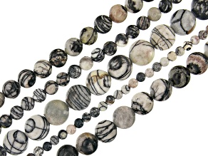 Black Web Marble Round appx 4, 6, 8, 10 & 12mm Bead Strand Set of 5 appx 14-15
