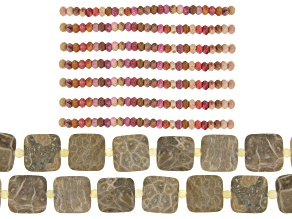 Fossilized Coral Square & Round & Pink Fossilized Coral Rondelle Bead Strand Set of 9