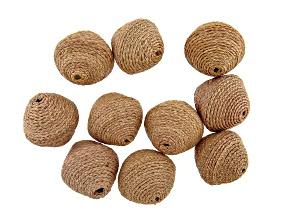 Akola Large Karatasi Raffia Wrapped Paper Beads Set of 10 in Natural Color