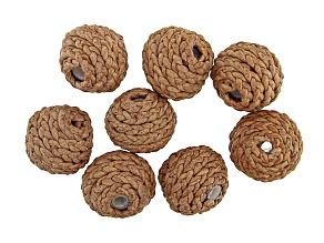 Akola Leather Wrapped Paper Beads Set of 8 in Natural Color