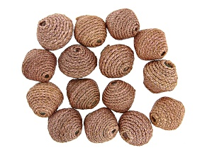 Akola Karatasi Raffia Wrapped Paper Beads Set of 15 in Natural Color