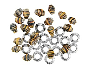 Akola Tiny Paper Beads with Silver Tone Spacer Beads