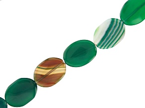 """Green Agate Tumbled Flat appx 30x22mm Oval Large Hole Bead Strand appx 14-15"""""""