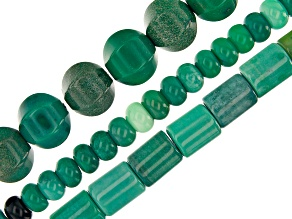 Shades of Green Quartzite Rondelle, Tube and 6-Side Round Bead Strand Set of 3 appx 15-16""