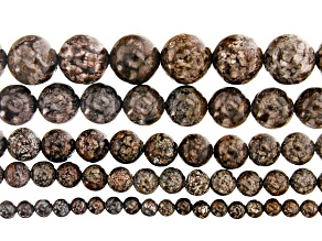 """Snowflake Stone Appx 4mm, 6mm, 8mm, 10mm & 12mm Round Bead Strand Set of 5 Appx 14-15"""""""