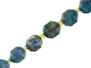 Blue Apatite Appx 10mm Faceted Oval Bead Strand Appx 15-16