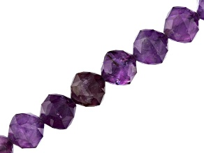Amethyst Appx 8mm Star Cut Faceted Round Bead Strand Appx 15-16