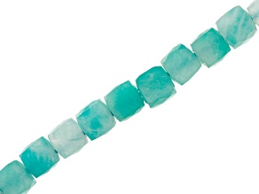 """Amazonite Appx 4mm Faceted Square Bead Strand Appx 15-16"""" in length"""