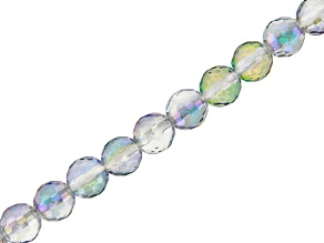 Iridescent Blue Quartz Appx 6mm Faceted Round Bead Strand Appx 8