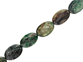 Fuchsite with Ruby Appx 12x8mm Oval Bead Strand Appx 15-16""