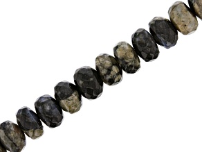 Blue and Grey Opal in Matrix Appx 8x5mm Faceted Rondelle Bead Strand Appx 15-16""